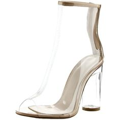 Cape Robbin Benny-1 ($50) ❤ liked on Polyvore featuring shoes, transparent, see-through shoes, chunky shoes, clear-heel shoes, transparent high heel shoes and chunky high heel shoes
