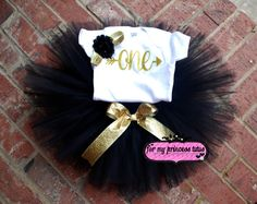 Black and gold first birthday outfit, gold glitter onesie, gold birthday outfit…