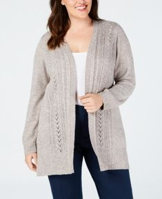 6a411890a Trendy Hooded Collar Beige Cable Knit Cardigan