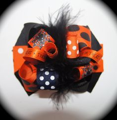Black and Orange Halloween Hair Bow