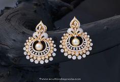 Gold Stone Pearl Earrings Indian Jewellery Design Jewelry