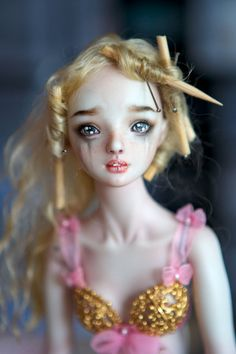 Incredible face-up - and those eyes are painted, not glass! Princess and the Pea - Enchanted Doll by Marina Bychkova