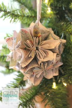 Vintage Map Ornament Picture Tutorial: Trim The Tree Blog Hop - Chic California