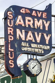 Avenue Army Navy Store ~ Anchorage, Alaska got my first bell bottoms and navy coat from one of these stores Advertising Signs, Vintage Advertisements, Vintage Ads, Cool Neon Signs, Vintage Neon Signs, Retro Signage, Neon Clock, Neon Nights, Old Signs