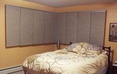 Ikea panel curtain solution for a corner window. Sliding Panel Curtains, Corner Window Curtains, Panel Blinds, Ikea Curtains, Corner Windows, Curtain Panels, Office Room Dividers, Sliding Room Dividers