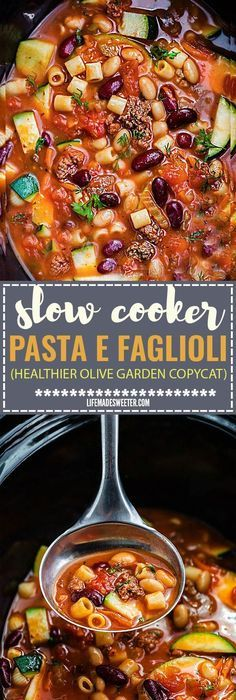 Slow Cooker Pasta e Faglioli is a lightened up and hearty stick-to-your-ribs soup perfect for a chilly day. Best of all, this copycat recipe for Olive Garden's Pasta e Fagioli is healthy with options to make this gluten free. Comes together easily in your crock-pot and can be made ahead of time for an easy set and forget it meal! Copycat Recipes, Crockpot Recipes, Soup Recipes, Dinner Recipes, Cooking Recipes, Free Recipes, Dinner Ideas, Slow Cooker Pasta, Crock Pot Slow Cooker