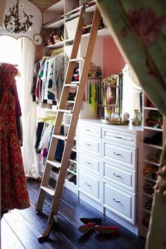closets - walk in closet, eclectic closet, huge closet, closet ladder, ladder in closet, vanity, closet vanity, vanity mirror, venetian mirr...