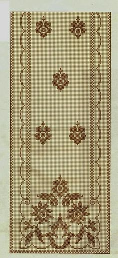 This Pin was discovered by Naz Cross Stitch Borders, Cross Stitch Rose, Cross Stitch Flowers, Cross Stitch Embroidery, Cross Stitch Patterns, Filet Crochet Charts, Crochet Borders, Crochet Patterns, Crochet Table Runner