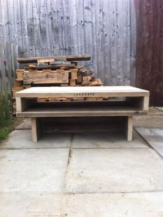 Coffee table. Made from scaffold planks. Unfinished, just sanded.