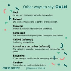 Synonyms To The Word Calm Other Ways Say Синонимы к английскому слову