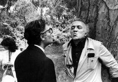 Federico Fellini and Marcello Mastroianni on the set of City of Women (1979)