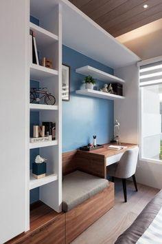 bureau design avec banquette et étagère bibliothèque