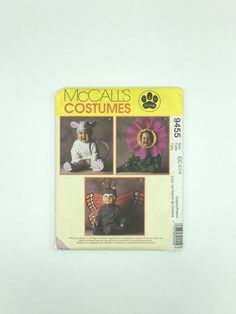Toddler costume pattern, Tom Arma size 2,3,4, makes sunflower, mouse or butterfly McCall's 9455 from 1998, uncut, baby Halloween costume by GiftGarbBags on Etsy #costumes #halloween #babycostumes