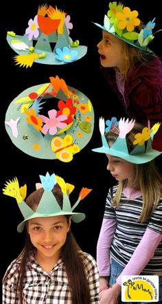 DIY Spring Crown - I think these would make fun Girl Scout tea party hats. They could be make-and-takes at the tea party itself. by stacey Crown Crafts, Hat Crafts, Diy And Crafts, Projects For Kids, Diy For Kids, Crafts For Kids, Kids Fun, Spring Activities, Activities For Kids