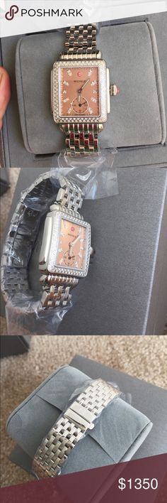 """$1900 NWT Michele """" DECO 16"""" DIAMOND MOP watch It is brand new with tag, comes with original box and warranty card.  Model number : MW06V00A1068  Case Size : 29 mm x 31 mm  Dial : Metallic Rose gold Mother of Pearl  Strap Size : 16 mm  Number of Diamonds - 126 diamonds / 0.57 ct tw Michele Accessories Watches"""