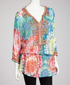 Take a look at this Pink & Orange Chiffon Embellished Floral Top by Barbara Gerwit on #zulily today! $64 !!