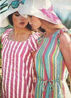"justseventeen: "" June 1969. 'Two breezy dresses glide over matching bikinis.' """