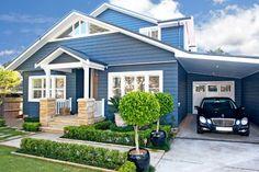 Brilliant blue chamfer board cladding and sandstone home. Enter via a sweet #porch #Australianhomes #sydneybuilder