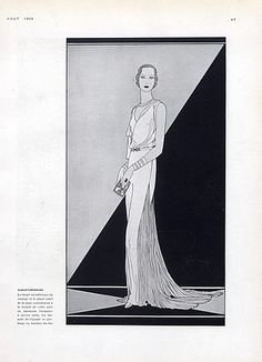 Augustabernard 1930 Evening Gown, Fashion Illustration Pollard, Art Deco Style