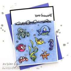 Here's day 13 of and I'm using a cute Stampendous Fishy Fun stamp set! I need some solid background coloring pointers. How do you color it all in smooth and even? Share your knowledge please! Tombow Markers, Alcohol Markers, Fun Crafts, Paper Crafts, Simply Stamps, Cute Fish, Spectrum Noir, Kids Cards, Cool Cards