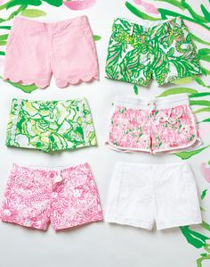 NEW Lilly Pulitzer Spring Shorts- love these pink & green prints.
