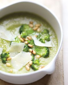 broccoli + white bean soup with pine nuts
