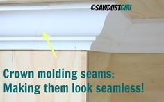 Making invisible crown molding seams - scarf joint ~ Sawdust Girl
