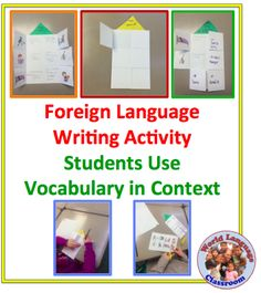Foreign (World) Language Writing Activity: Vocabulary in Context (French, Spanish) wlteacher. Spanish Activities, Vocabulary Activities, Language Activities, Writing Activities, Teaching French, Teaching Writing, Teaching Spanish, Teaching English, Spanish Classroom