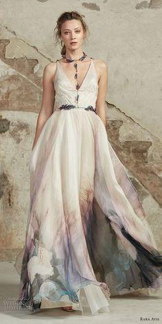 rara avis 2017 bridal strapless v neck lighly embellished colored prints romantic soft a line wedding dress open strap back medium train (23) mv -- Rara Avis 2017 Wedding Dresses
