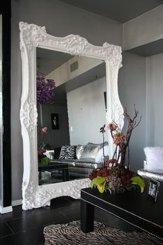 Best Seller Floor Mirror Italian Baroque Rococo Style in Lacquer Finish