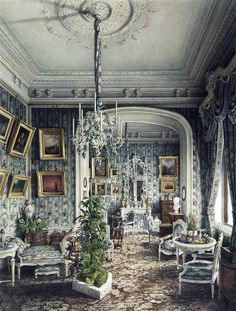 Jules Mayblum - Palace of Count P. S. Stroganov. Boudoir (1865).