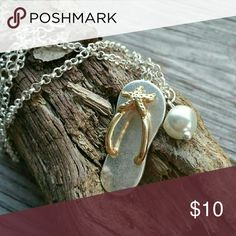 Flip Flop Necklace Inspired by my love of the sea,  this handmade filop flop necklace comes with a mother of pearl charm. Perfect to show your love for the beach no matter what time of year handmade Jewelry Necklaces