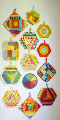 fun self made potholder collection by Malka Dubrawsky of a stitch in dye