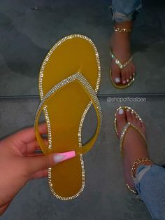 SIZE Heel Height Approx: True to Size Model wears a size and is wearing a size in this sandal. DETAILS PVC Plastic (Jelly) Rhinestone Detailed Straps and Outer Sole Thong Strap Slip-on Entry Mustard Jelly Sandal Pretty Sandals, Cute Sandals, Pretty Shoes, Shoes Sandals, Really Cute Outfits, Cute Swag Outfits, Cute Slides, Jelly Slides, Jelly Sandals