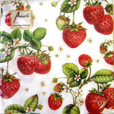 4 Paper Napkins for Decoupage, craft, 4 x - Strawberry Plant Strawberry Patch, Strawberry Plants, Strawberry Tattoo, Strawberry Art, Strawberry Kitchen, Strawberry Background, Strawberry Fields Forever, Paper Napkins For Decoupage, Paper Plates