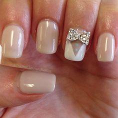 Wedding tuxedo gel nail art design 3d bow