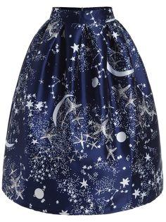 Vintage Stars Print Original Starry Studded Zipper Flare Skirt  SheIn $35.99 -