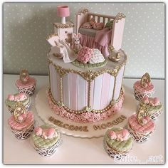 "Lynda on Instagram: ""Beautiful cake design!! Love all the gorgeous details + sleeping baby!! By @cake._.art Pic via @ideiasdebolosefestas #cake #cakedesign #babyshower #babybliss #glambaby #nurseryroom #birthday #babygirl #storybookbliss #feature #prettyinpink"""