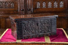 An Upper Rhenish 'Minnekästchen'casket with carved front panel with two eagles within roundels. Vinyl Record Storage, Lp Storage, Gothic Furniture, Antique Furniture, Punk Bedroom, Gothic Interior, Pallet Tv Stands, Tv Stand Console, Home Office Lighting