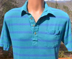 vintage 70s golf shirt polo STRIPES teal green blue by skippyhaha, $22.00