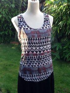 New Look Aztec Print Vest Top T-shirt Size 8 | eBay