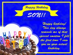 Birthday Greetings for son Beautiful Birthday Wishes for son Happy Birthday Son Wishes, Birthday Messages For Son, Beautiful Birthday Wishes, Son Birthday Quotes, Birthday Wishes Cards, Sons Birthday, Happy Birthday Images, Happy Birthday Greetings, Birthday Greeting Cards