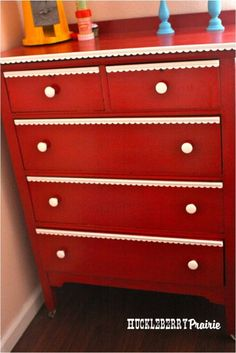 Oooh, I love a red dresser! Scouring Goodwill and Consignment stores now for one I can spruce up and paint fiery red.
