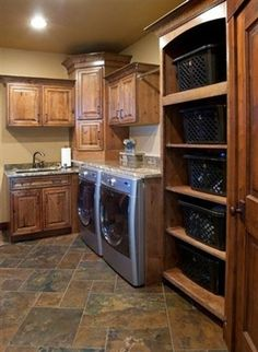 Crown Semi Custom Cabinetry rustic laundry room Cherry Kitchen, Laundry Room Remodel, Laundry Closet, Laundry Room Cabinets, Laundry Room Storage, Kitchen Cabinets, Corner Cabinets, Rustic Laundry Rooms, Small Laundry Rooms