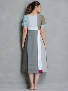 Buy Multi Color Patch Work Detailed & Pleated Linen Dress by Doodlage Apparel Tops Dresses Reclaimed! Upcycled Pants Kurtas Online at Jaypore.com
