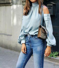 c360abfa366fd Fashion Sexy Shoulder Loose Solid Color Top blue m #blouse #highneck  #coldshoulder Fall