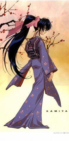 "Artwork of Kamiya Kaoru from ""Rurouni Kenshin"" anime series."