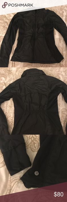 Black Lululemon jacket Nice jacket for a light rain! The good can be worn in the collar or out! Flattering rouching on the back, and a super soft lining! lululemon athletica Jackets & Coats