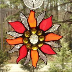 Stained Glass Suncatcher  Sun Star with Sun by CartersStainedGlass