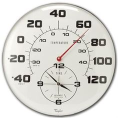 "Taylor #162 Thermometer/Clock Combination, 18"" > 18"" diameter combination thermometer/clock. Easy-to-read jumbo dial in a brushed silver metal bezel. Red pointer for thermometer and black hands for clock. Check more at http://farmgardensuperstore.com/product/taylor-162-thermometerclock-combination-18/"